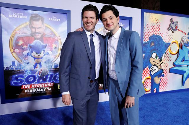 "Director Jeff Fowler and cast member Ben Schwartz pose at the premiere of ""Sonic the Hedgehog"" in Los Angeles, California, U.S., February 12, 2020. REUTERS/Mario Anzuoni"