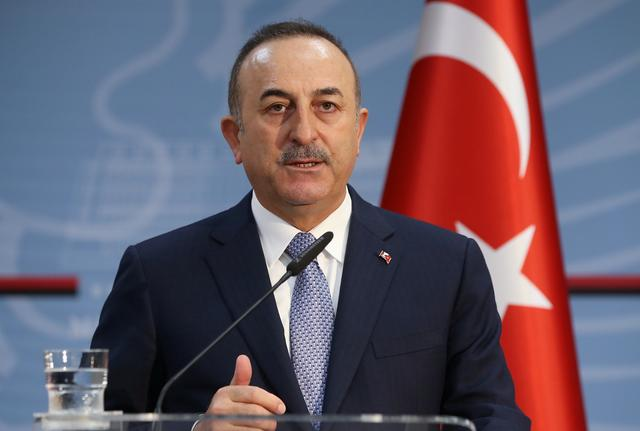 Turkish Foreign Minister Mevlut Cavusoglu speaks during a news conference in Tirana, Albania, February 12, 2020. Turkish Foreign Ministry/Handout via REUTERS ATTENTION EDITORS - THIS PICTURE WAS PROVIDED BY A THIRD PARTY. NO RESALES. NO ARCHIVE