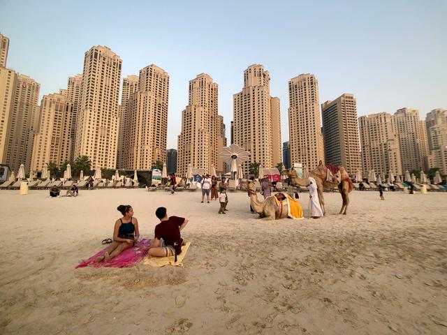 FILE PHOTO: People take photos with camels on the beach at Jumeirah Beach Residence in Dubai, United Arab Emirates, July 17, 2019. REUTERS/ Hamad I Mohammed/File Photo