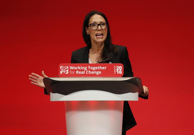 FILE PHOTO: Britain's shadow Secretary of State for Work and Pensions, Debbie Abrahams, speaks during the second day of the Labour Party conference in Liverpool, Britain, September 26, 2016. REUTERS/Darren Staples
