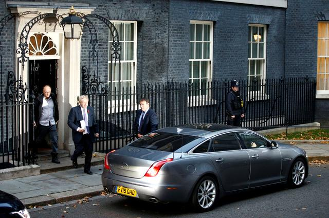 FILE PHOTO: Britain's Prime Minister Boris Johnson and Dominic Cummings, special adviser to Johnson, leave Downing Street to head for the Houses of Parliament in London, Britain October 28, 2019. REUTERS/Henry Nicholls/File Photo
