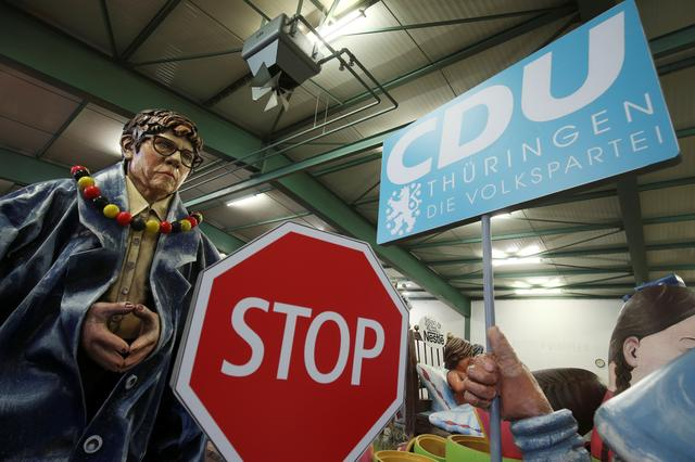 A papier mache figure for carnival floats depicting Annegret Kramp-Karrenbauer, outgoing leader of the Christian Democratic Union (CDU), is pictured during preparations for the upcoming Rose Monday carnival parade in Mainz, Germany, February 18, 2020.     REUTERS/Ralph Orlowski