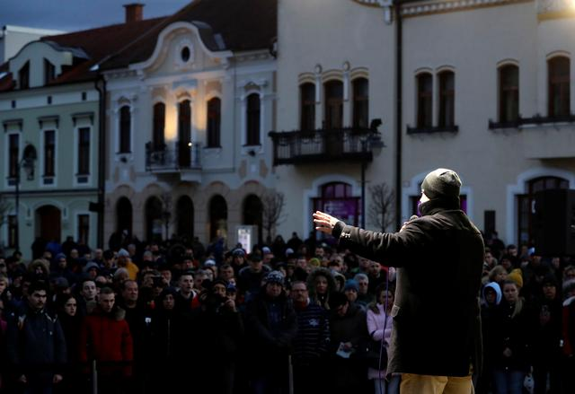 Marian Kotleba, leader of the far-right People's Party Our Slovakia (LSNS), speaks during an election campaign rally in Topolcany, Slovakia, February 12, 2020. Picture taken February 12, 2020.   REUTERS/David W Cerny