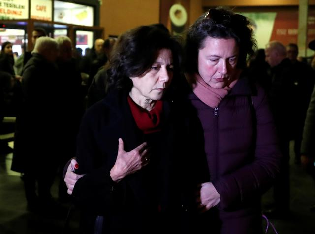 Ayse Bugra, wife of Osman Kavala, Turkish businessman and philanthropist, leaves the restaurant after learning that Istanbul prosecutor's office demanded the detention of her husband, in Silivri, near Istanbul, Turkey, February 18, 2020. REUTERS/Murad Sezer