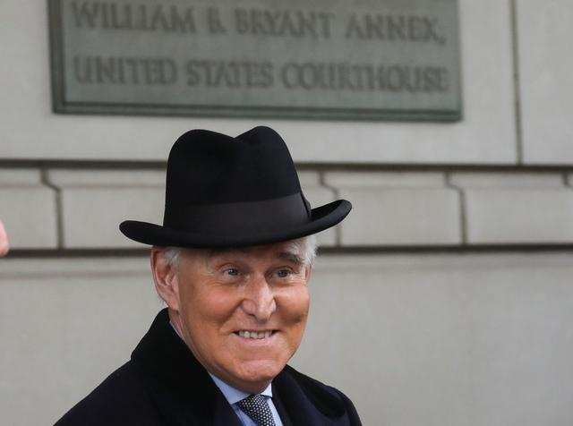 Former Trump campaign adviser Roger Stone departs after he was sentenced to three years and four months in prison for charges that include lying to Congress, obstruction of justice and witness tampering, at U.S. District Court in Washington, U.S., February 20, 2020. REUTERS/Leah Millis
