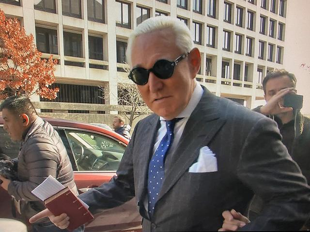 FILE PHOTO: Roger Stone, former campaign adviser to U.S. President Donald Trump, departs after he was found guilty on seven criminal counts in his trial on charges of lying to Congress, obstructing justice and witness tampering in this stilll image taken from video at U.S. District Court in Washington, U.S., November 15, 2019. REUTERS/Kevin Fogarty