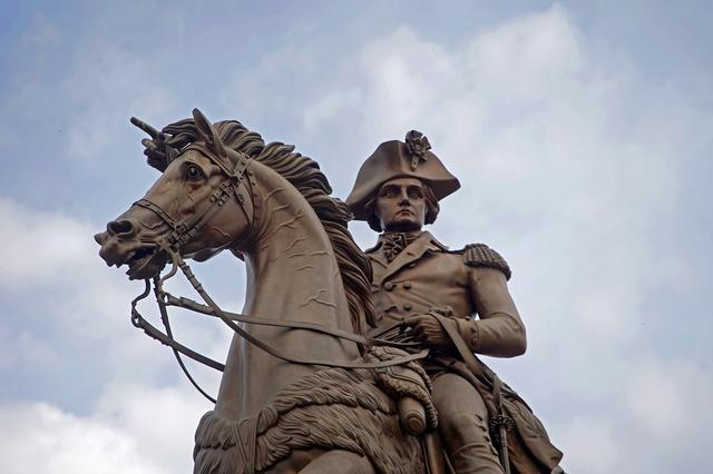 FILE PHOTO: A statue of George Washington on a horse is pictured outside the Virginia State Capitol building in Richmond, Virginia, U.S, February 8, 2019. REUTERS/Jay Paul/File Photo