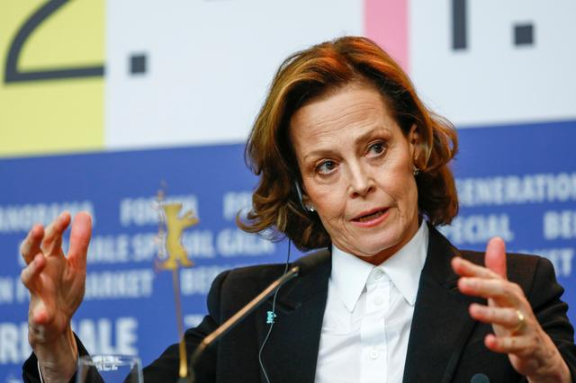 """Actor Sigourney Weaver attends a news conference to promote the movie """"My Salinger Year"""" during the 70th Berlinale International Film Festival in Berlin, Germany, February 20, 2020. REUTERS/Michele Tantussi"""