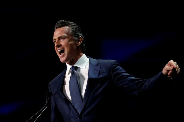 FILE PHOTO: California's Governor Gavin Newsom speaks during the California Democratic Convention in San Francisco, California, U.S. June 1, 2019. REUTERS/Stephen Lam