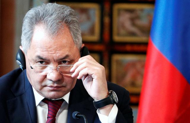 FILE PHOTO: Russian Defence Minister Sergei Shoigu gestures during a news conference after bilateral talks between Italy and Russia at Villa Madama in Rome, Italy February 18, 2020. REUTERS/Guglielmo Mangiapane