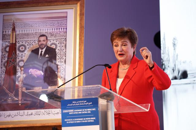 FILE PHOTO: IMF Managing Director Kristalina Georgieva speaks during a news conference in Rabat, Morocco, February 20, 2020. REUTERS/Youssef Boudlal