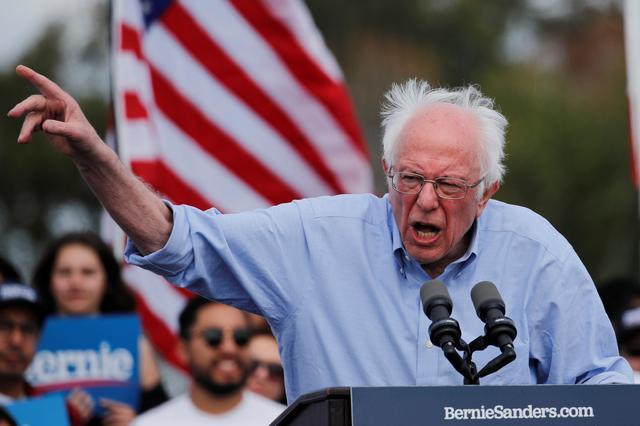Democratic U.S. presidential candidate Senator Bernie Sanders speaks during a Get Out the Early Vote campaign rally in Santa Ana, California, U.S., February 21, 2020. REUTERS/Mike Blake