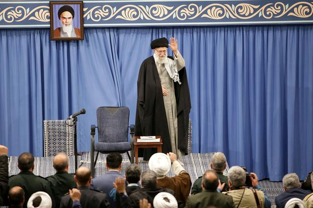 FILE PHOTO: Iran's Supreme Leader Ayatollah Ali Khamenei waves as he meets with people, in Tehran, Iran February 18, 2020. Official Khamenei website/Handout via REUTERS