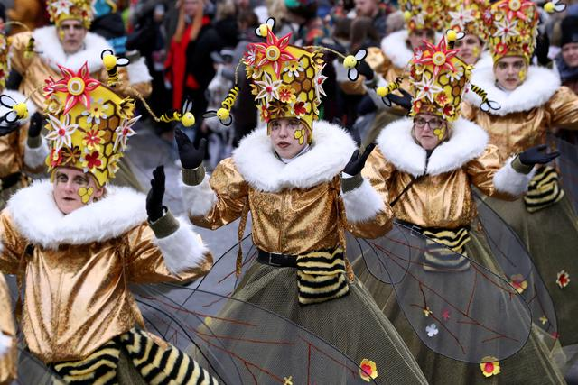 Revellers in costumes attend a carnival parade in Aalst, Belgium February 23, 2020. REUTERS/Yves Herman