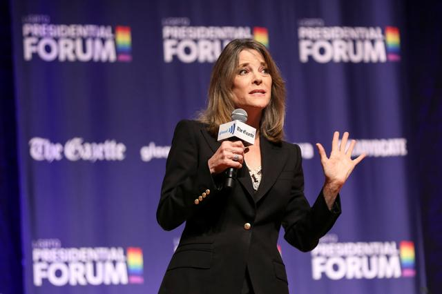 FILE PHOTO: Former Democratic presidential candidate and author Marianne Williamson speaks at the One Iowa and GLAAD LGBTQ Presidential Forum in Cedar Rapids, Iowa, September 20, 2019. REUTERS/Scott Morgan