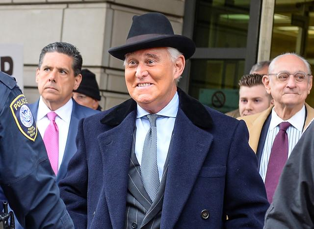 FILE PHOTO: Former Trump campaign adviser Roger Stone departs after he was sentenced to three years and four months in prison for charges that include lying to Congress, obstruction of justice and witness tampering, at U.S. District Court in Washington, U.S., February 20, 2020.  REUTERS/Mary F. Calvert