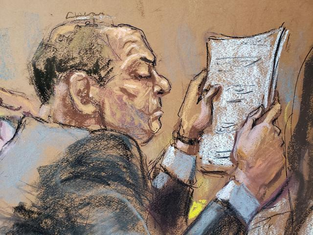 Harvey Weinstein sits at the defense table reading papers during jury deliberations in his sexual assault trial in the Manhattan borough of New York City, New York, U.S., February 24, 2020 in this courtroom sketch.  REUTERS/Jane Rosenberg