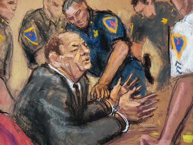 Film producer Harvey Weinstein is handcuffed after his guilty verdict in his sexual assault trial in the Manhattan borough of New York City, New York, U.S., February 24, 2020 in this courtroom sketch.  REUTERS/Jane Rosenberg
