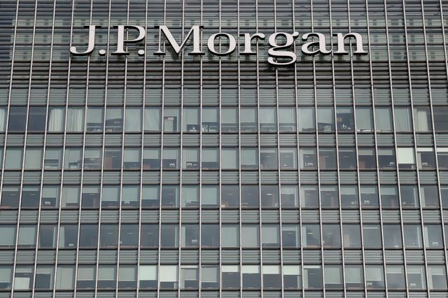 FILE PHOTO: The J.P.Morgan logo is seen at  Canary Wharf financial district in London, Britain, March 3, 2016.  REUTERS/Reinhard Krause/File Photo