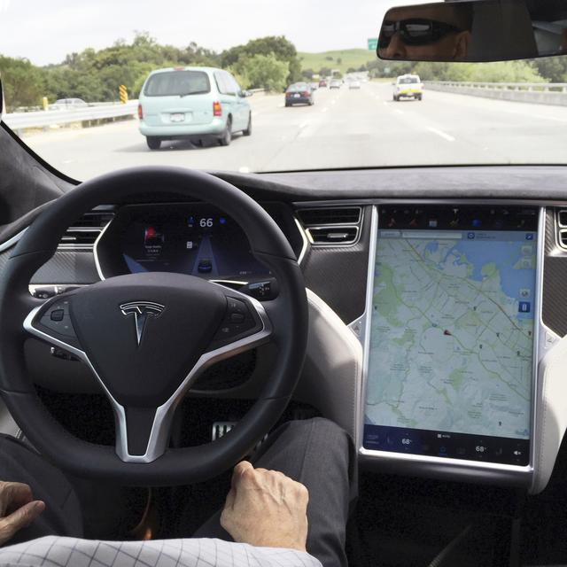 FILE PHOTO --  The interior of a Tesla Model S is shown in autopilot mode in San Francisco, California, U.S., April 7, 2016.   REUTERS/Alexandria Sage/File Photo