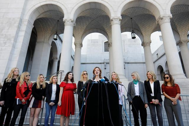 "Lauren O'Connor speaks with ""The Silence Breakers"", a group of women who spoke out about Harvey Weinstein's sexual misconduct during a news conference outside Los Angeles City Hall in Los Angeles, California, U.S. February 25, 2020.      REUTERS/Mike Blake"