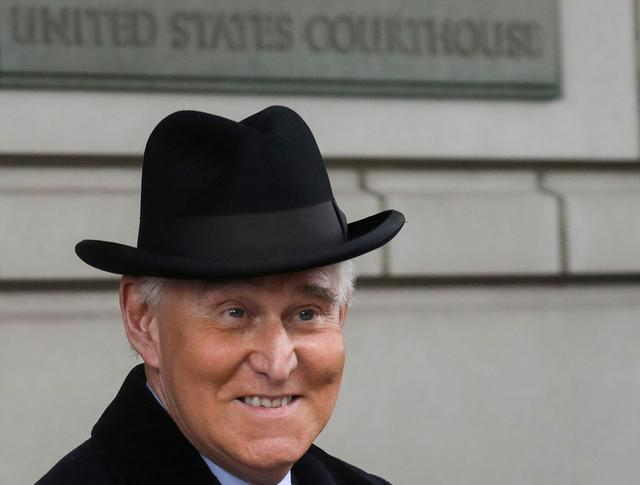 FILE PHOTO: Former Trump adviser Roger Stone departs after he was sentenced to three years and four months in prison for charges that include lying to Congress, obstruction of justice and witness tampering, at U.S. District Court in Washington, U.S., February 20, 2020. REUTERS/Leah Millis/File Photo