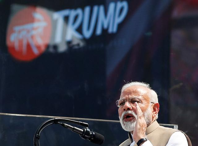 "Indian Prime Minister Narendra Modi speaks during the ""Namaste Trump"" event with U.S. President Donald Trump (not pictured) at Sardar Patel Gujarat Stadium, in Ahmedabad, India, February 24, 2020. REUTERS/Al Drago"