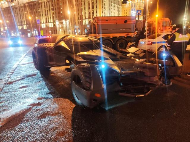 "A vehicle resembling the Batmobile from the film ""Batman v Superman: Dawn of Justice"" stopped by traffic police in Moscow, is seen in this handout photo released by Interior Ministry of Russia on February 25, 2020. Interior Ministry of Russia/Handout via REUTERS"