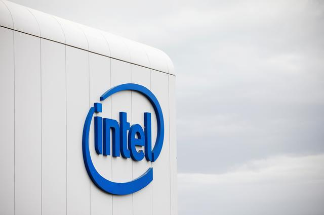 "FILE PHOTO: U.S. chipmaker Intel Corp's logo is seen on their ""smart building"" in Petah Tikva, near Tel Aviv, Israel December 15, 2019. Picture taken December 15, 2019. REUTERS/Amir Cohen/File Photo"