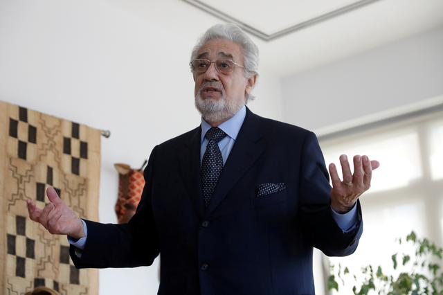 FILE PHOTO: Opera singer Placido Domingo speaks during an event at the Manhattan School of Music in New York, U.S., May 11, 2018.   REUTERS/Shannon Stapleton