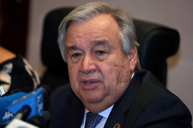 FILE PHOTO: Antonio Guterres, United Nations (UN) Secretary General, speaks at a news conference at the 32nd Ordinary Session of the Assembly of the Heads of State and the Government of the African Union (AU) in Addis Ababa, Ethiopia, February 10, 2019. REUTERS/Tiksa Negeri