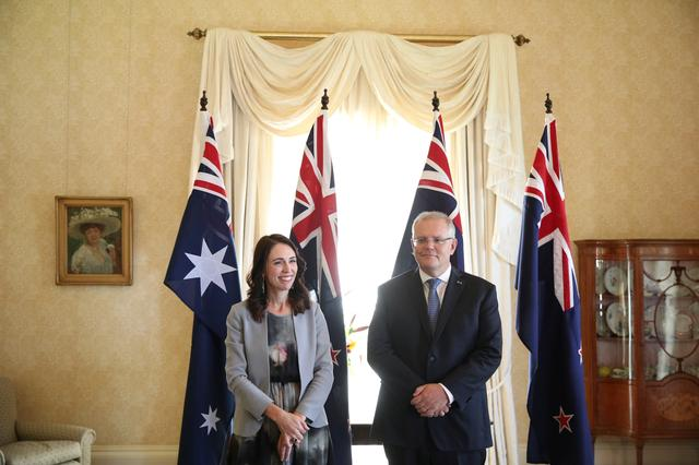 New Zealand Prime Minister Jacinda Ardern meets with Australian Prime Minister Scott Morrison at Admiralty House in Sydney, Australia, February 28, 2020.  REUTERS/Loren Elliott/POOL