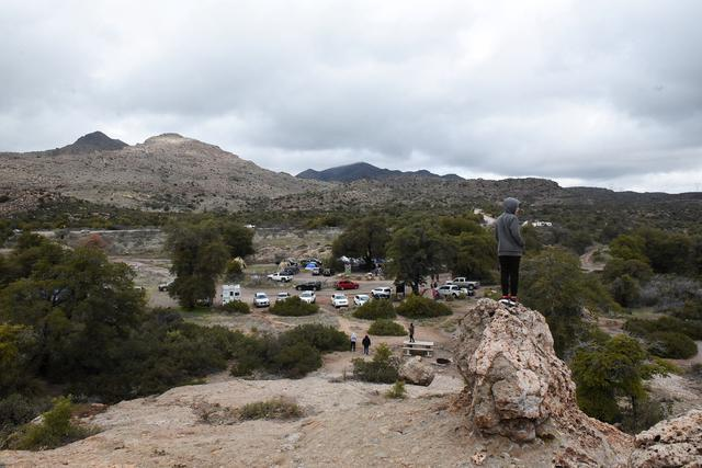 FILE PHOTO: A view of people camping in the Oak Flat campground outside of Globe, Arizona, U.S., February 23, 2020.  REUTERS/Stephanie Keith