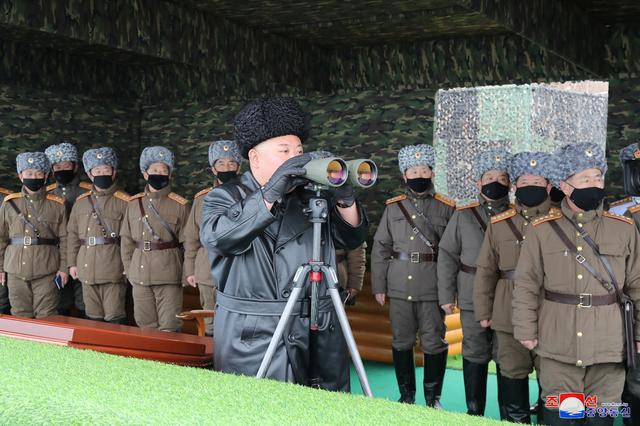 North Korean leader Kim Jong Un attends a drill by a unit of the Korean People's Army (KPA), North Korea in this image released by North Korea's Korean Central News Agency (KCNA) on February 29, 2020.    KCNA via REUTERS