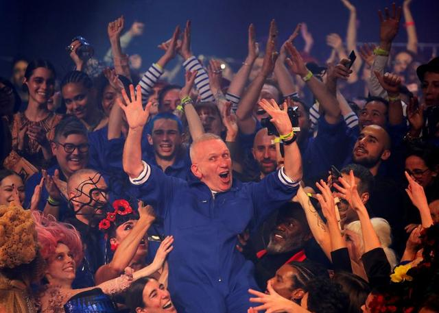 FILE PHOTO: Designer Jean Paul Gaultier reacts at the end of his Haute Couture Spring/Summer 2020 collection show in Paris, France, January 22, 2020. REUTERS/Charles Platiau