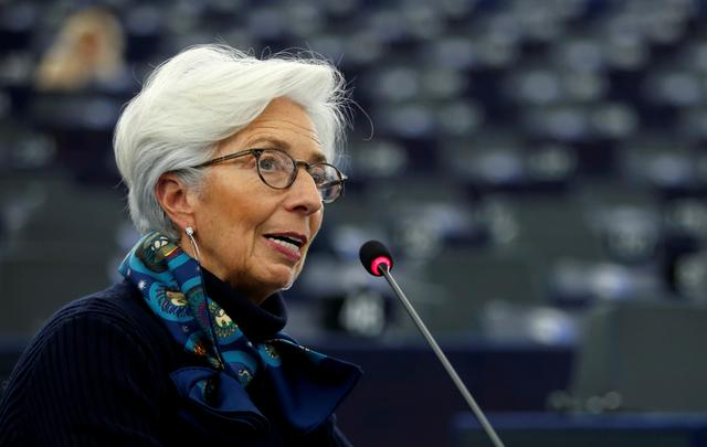 FILE PHOTO: European Central Bank President Christine Lagarde addresses the European Parliament during a debate on the 2018 annual report of the ECB in Strasbourg, France, February 11, 2020. REUTERS/Vincent Kessler/File Photo