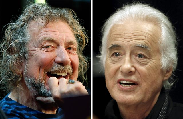 FILE PHOTO: Lead singer Robert Plant (L) and guitarist Jimmy Page of the British rock band Led Zeppelin are shown in these October 9, 2012 and July 21, 2015 combination file photos in New York and Toronto.  REUTERS/Carlo Allegri, Hans Deryk
