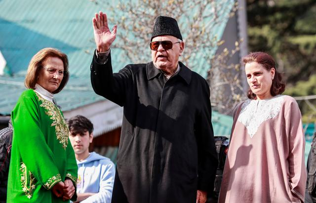 Farooq Abdullah, a lawmaker and leader of National Conference, speaks to media after his release at his residence in Srinagar March 13, 2020. REUTERS/Danish Ismail