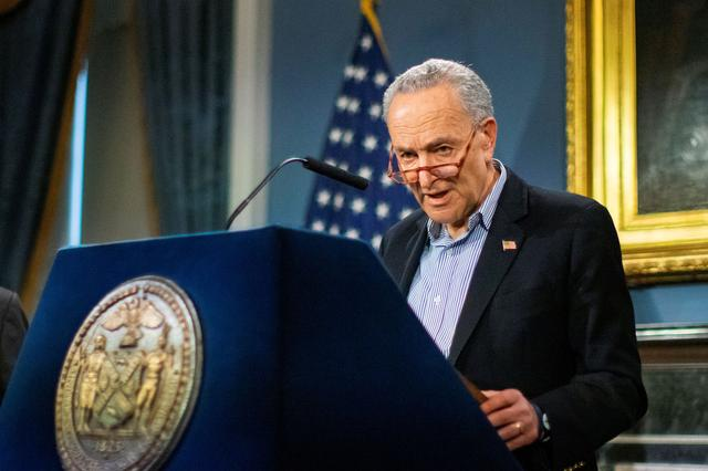 FILE PHOTO: U.S. Senate Minority Leader Chuck Schumer, (D-NY) speaks during a news briefing of the coronavirus disease (COVID-19) at the City Hall in the Manhattan borough of New York City, New York, U.S., March 14, 2020. REUTERS/Eduardo Munoz
