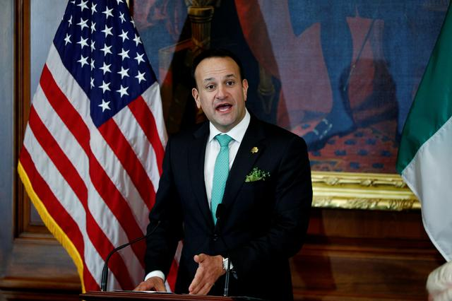 FILE PHOTO: Ireland's Prime Minister, Taoiseach Leo Varadkar addresses a Friends of Ireland luncheon held in his honor on Capitol Hill in Washington, U.S., March 12, 2020. REUTERS/Tom Brenner