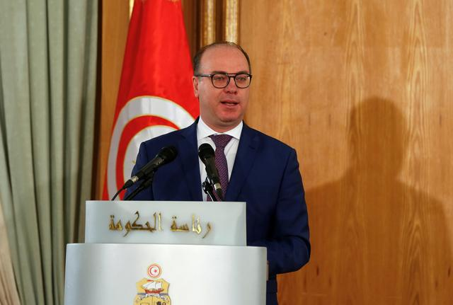 FILE PHOTO: Tunisia's Prime Minister Elyes Fakhfakh speaks during a handover ceremony in Tunis, Tunisia February 28, 2020. REUTERS/Zoubeir Souissi
