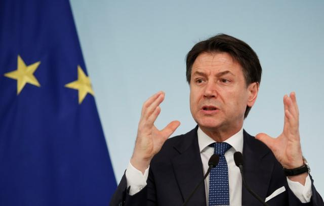 FILE PHOTO: Italian Prime Minister Giuseppe Conte speaks during a news conference due to coronavirus spread, in Rome, Italy March 11, 2020. REUTERS/Remo Casilli