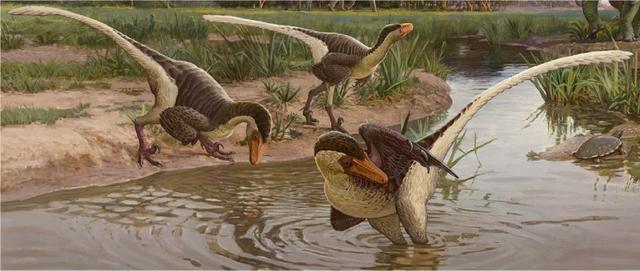 Reconstruction of Dineobellator notohesperus and other dinosaurs from the Ojo Alamo Formation at the end of the Cretaceous Period in New Mexico, showing three Dineobellator individuals near a water source, with the horned dinosaur Ojoceratops and  sauropod dinosaur Alamosaurus in the background, in an illustration released by the State Museum of Pennsylvania in Harrisburg, Pennsylvania, U.S. March 26, 2020.    Sergey Krasovskiy/Handout via REUTERS