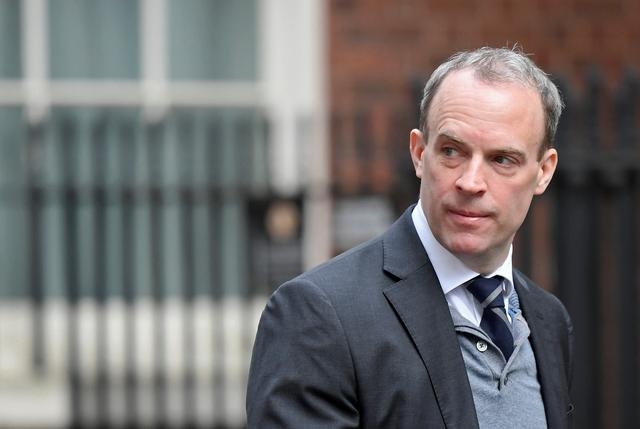 Britain's Foreign Secretary Dominic Raab arrives for a weekly cabinet meeting at Downing Street in London, Britain March 11, 2020. REUTERS/Toby Melville