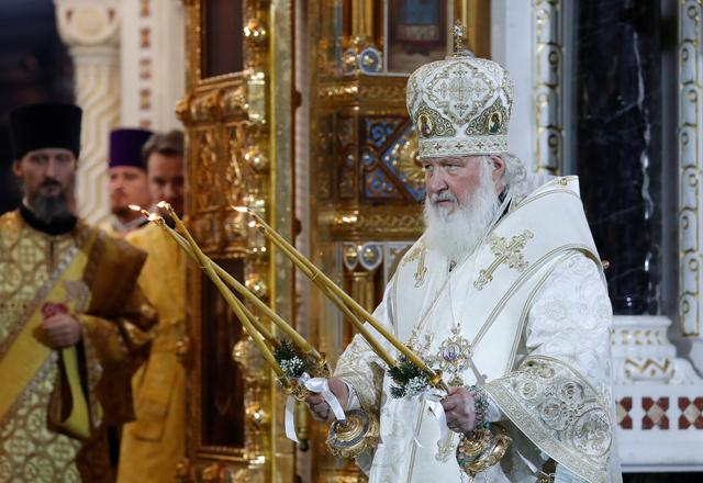 FILE PHOTO: Patriarch Kirill of Moscow and All Russia conducts the Orthodox Christmas service at the Cathedral of Christ the Saviour in Moscow, Russia January 7, 2020. REUTERS/Evgenia Novozhenina