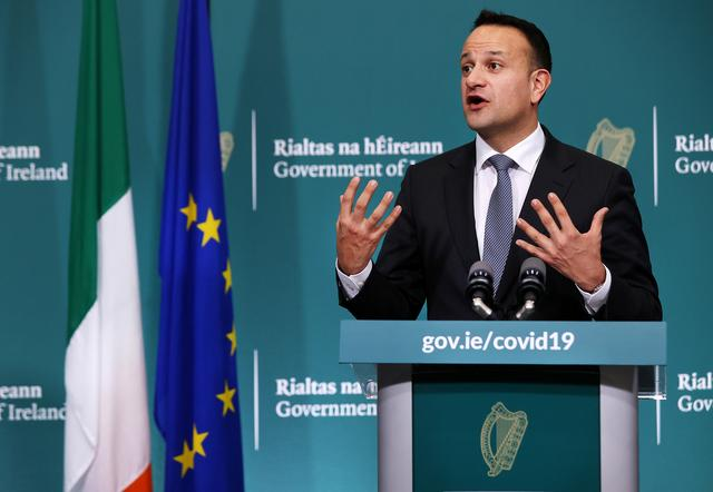 FILE PHOTO: Ireland's Prime Minister Taoiseach Leo Varadkar speaks during a news conference on the ongoing situation with the coronavirus disease (COVID-19) at Government Buildings in Dublin, Ireland March 24, 2020.  Steve Humphreys/Pool via REUTERS