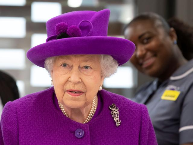 FILE PHOTO: Britain's Queen Elizabeth visits the new premises of the Royal National ENT and Eastman Dental Hospitals in London, Britain February 19, 2020. Heathcliff O'Malley/Pool via REUTERS