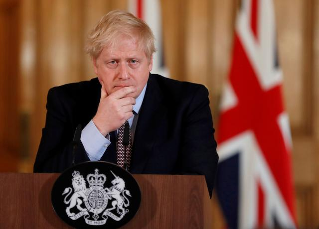 FILE PHOTO: Britain's Prime Minister Boris Johnson speaks during a news conference on the novel coronavirus, in London, Britain March 3, 2020.      Frank Augstein/Pool via REUTERS