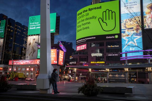 A view of Yonge and Dundas Square, as the number of the coronavirus disease (COVID-19) cases continue to grow in Toronto, Ontario, Canada April 8, 2020.  REUTERS/Carlos Osorio