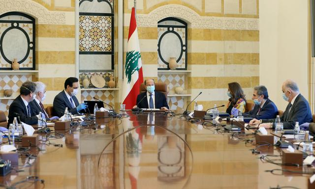Lebanon's President Michel Aoun heads a cabinet meeting at the presidential palace in Baabda, Lebanon April 9, 2020. Dalati Nohra/Handout via REUTERS